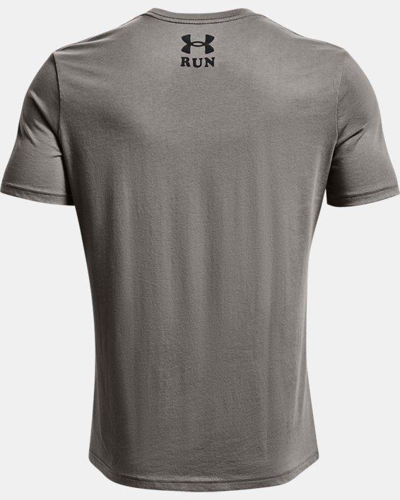 Men's UA Keep Run Weird Graphic Short Sleeve, Gray, pdpMainDesktop image number 5