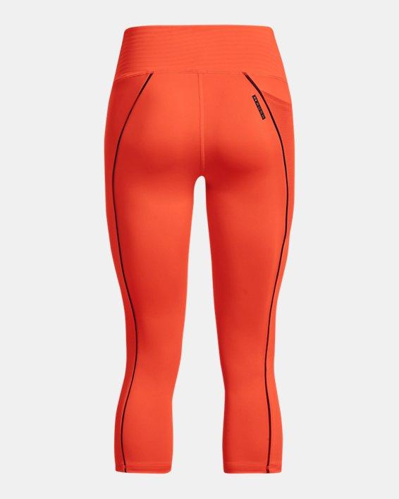 Women's UA RUSH™ HeatGear® No-Slip Waistband Mesh Pocket Capris, Orange, pdpMainDesktop image number 5