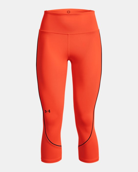 Women's UA RUSH™ HeatGear® No-Slip Waistband Mesh Pocket Capris, Orange, pdpMainDesktop image number 4