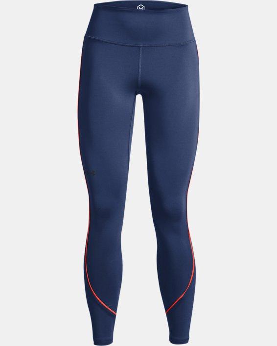 Women's UA RUSH™ HeatGear® No-Slip Waistband Mesh Pocket Full-Length Leggings, Blue, pdpMainDesktop image number 4