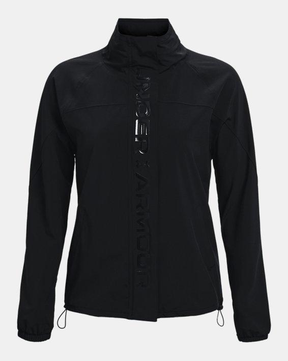 Women's UA RUSH™ Woven Full-Zip Jacket, Black, pdpMainDesktop image number 4