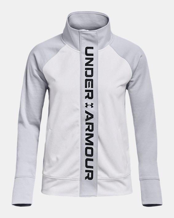 Women's UA RUSH™ Tricot Jacket, White, pdpMainDesktop image number 4