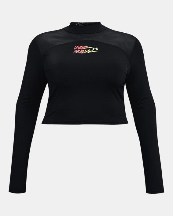 Camiseta corta con cuello alto HeatGear® para mujer, Black, pdpMainDesktop image number 4