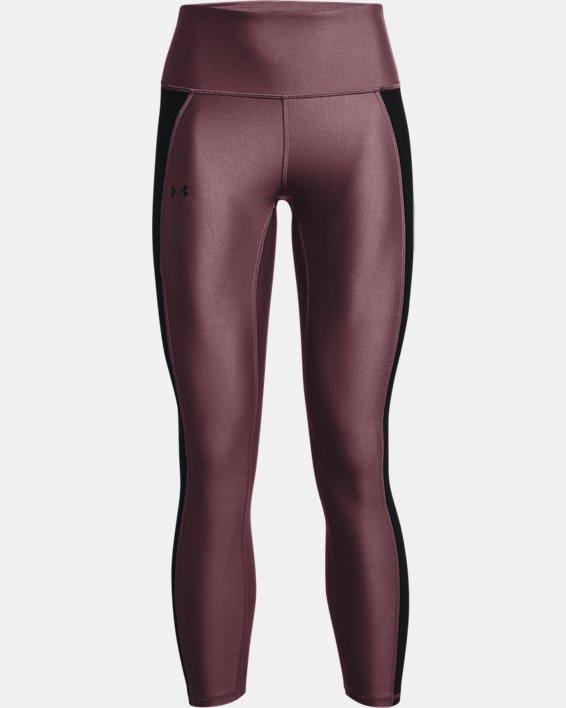 Women's HeatGear® Armour No-Slip Waistband Panel Ankle Leggings, Purple, pdpMainDesktop image number 4