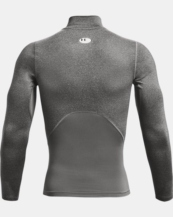 Men's HeatGear® Armour Mock Long Sleeve, Gray, pdpMainDesktop image number 5