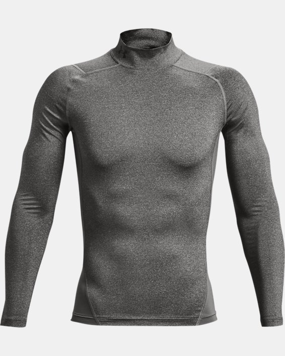 Men's HeatGear® Armour Mock Long Sleeve, Gray, pdpMainDesktop image number 4