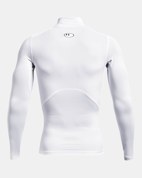 Men's HeatGear® Armour Mock Long Sleeve, White, pdpMainDesktop image number 5