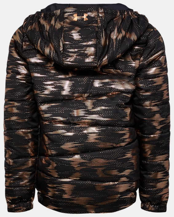Girls' Pre-School UA Metallic Print Puffer Jacket, Black, pdpMainDesktop image number 1