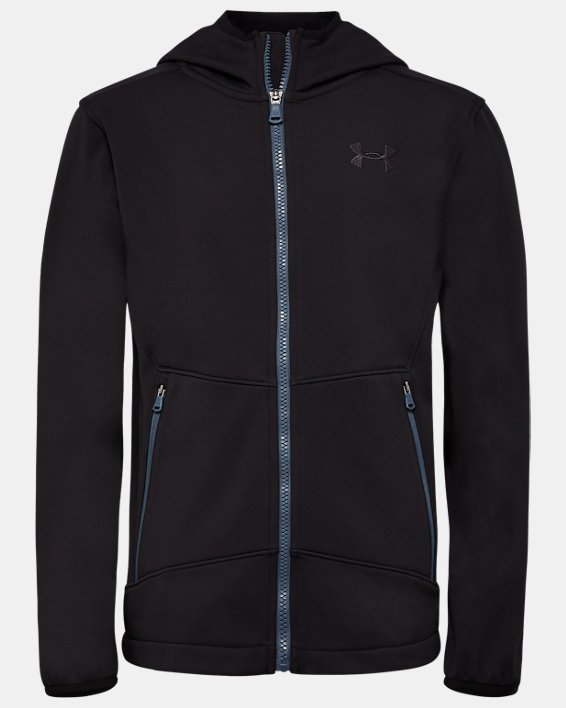 Boys' UA Sim Softshell Jacket, Black, pdpMainDesktop image number 0