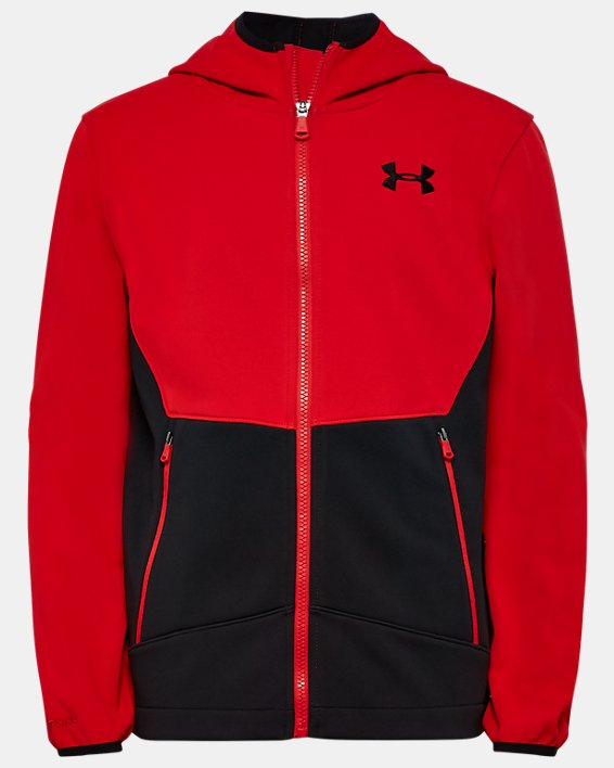 Boys' UA Sim Softshell Jacket, Red, pdpMainDesktop image number 0