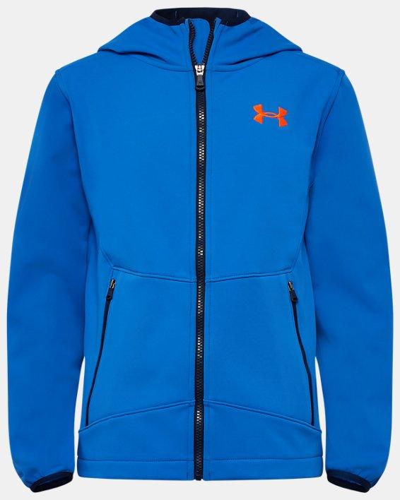 Boys' UA Sim Softshell Jacket, Blue, pdpMainDesktop image number 0