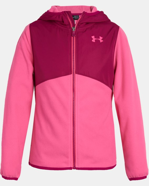 Girls' UA Canyon Rim Microfleece Jacket, Pink, pdpMainDesktop image number 0