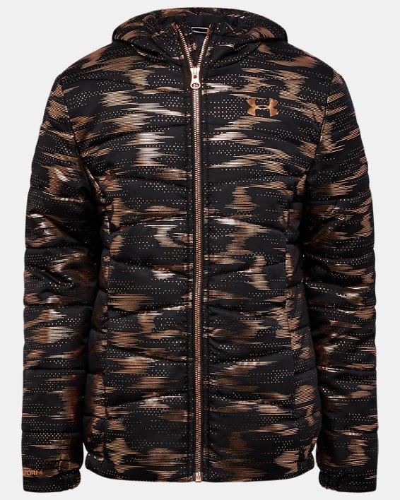 Girls' UA Metallic Print Puffer Jacket, Black, pdpMainDesktop image number 0