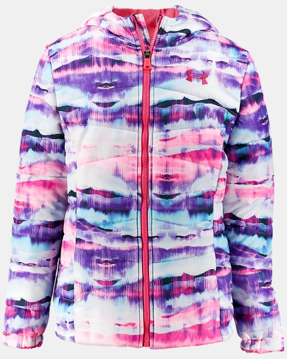 Girls' UA Prime Print Puffer Jacket, Orange, pdpMainDesktop image number 0