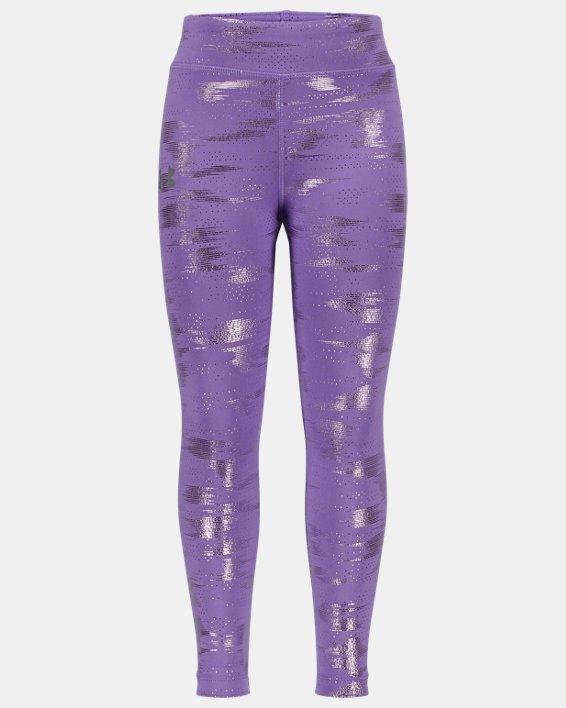 Girls' Pre-School UA Glare Foil Leggings, Purple, pdpMainDesktop image number 0