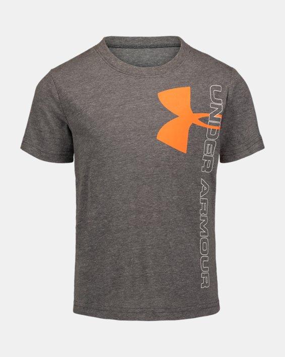 Boys' Pre-School UA Split Logo Short Sleeve, Gray, pdpMainDesktop image number 0