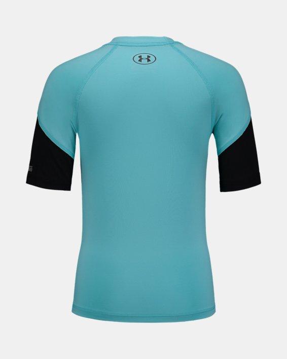 Boys' UA H2O Reveal Rashguard Short Sleeve, Blue, pdpMainDesktop image number 1