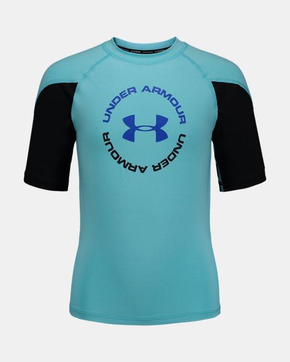 Boys' UA H2O Reveal Rashguard Short Sleeve, Blue, pdpMainDesktop image number 0