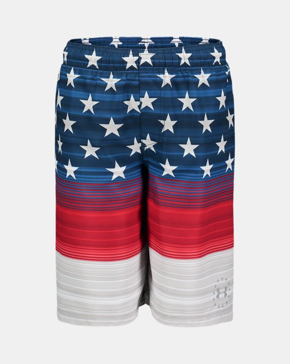 Boys' UA Freedom Striped Volley Shorts, Red, pdpMainDesktop image number 0