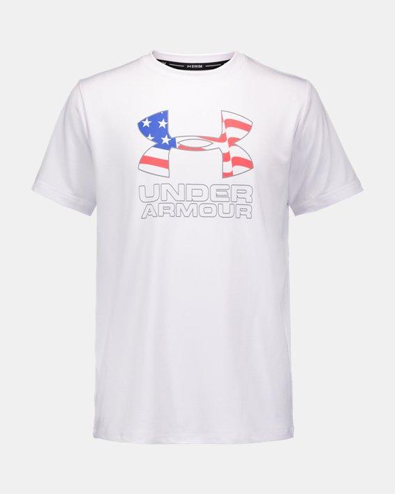 Boys' UA Americana Big Logo Surf Shirt, White, pdpMainDesktop image number 0