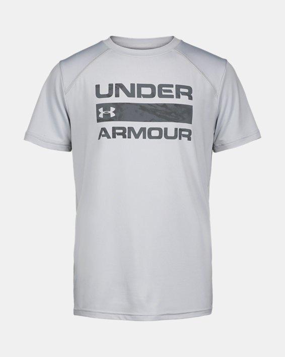 Boys' UA Sky Camo Shore Break Short Sleeve, Gray, pdpMainDesktop image number 0