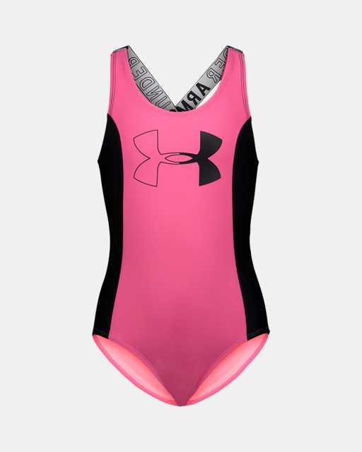 Girls' Pre-School UA Color Blocked 1-Piece Swimsuit