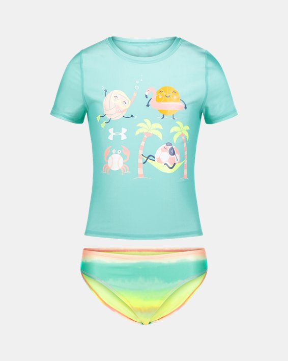 Girls' Pre-School UA Beach Balls & Ombre Rashguard Set, Green, pdpMainDesktop image number 0