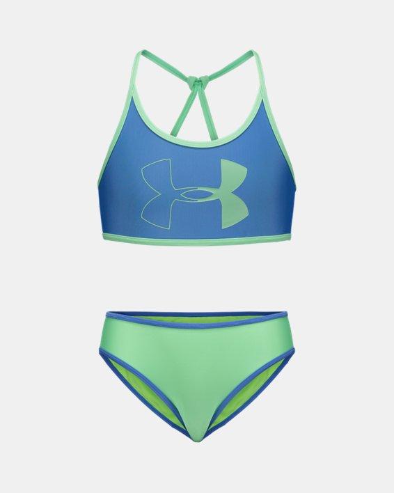 Girls' Pre-School UA Duo Color Bikini Swimsuit, Blue, pdpMainDesktop image number 0
