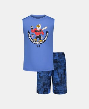 New Under Armour Boys Kids Youth Long Sleeve Shirt /& Pant Set Gray Orange 18 M
