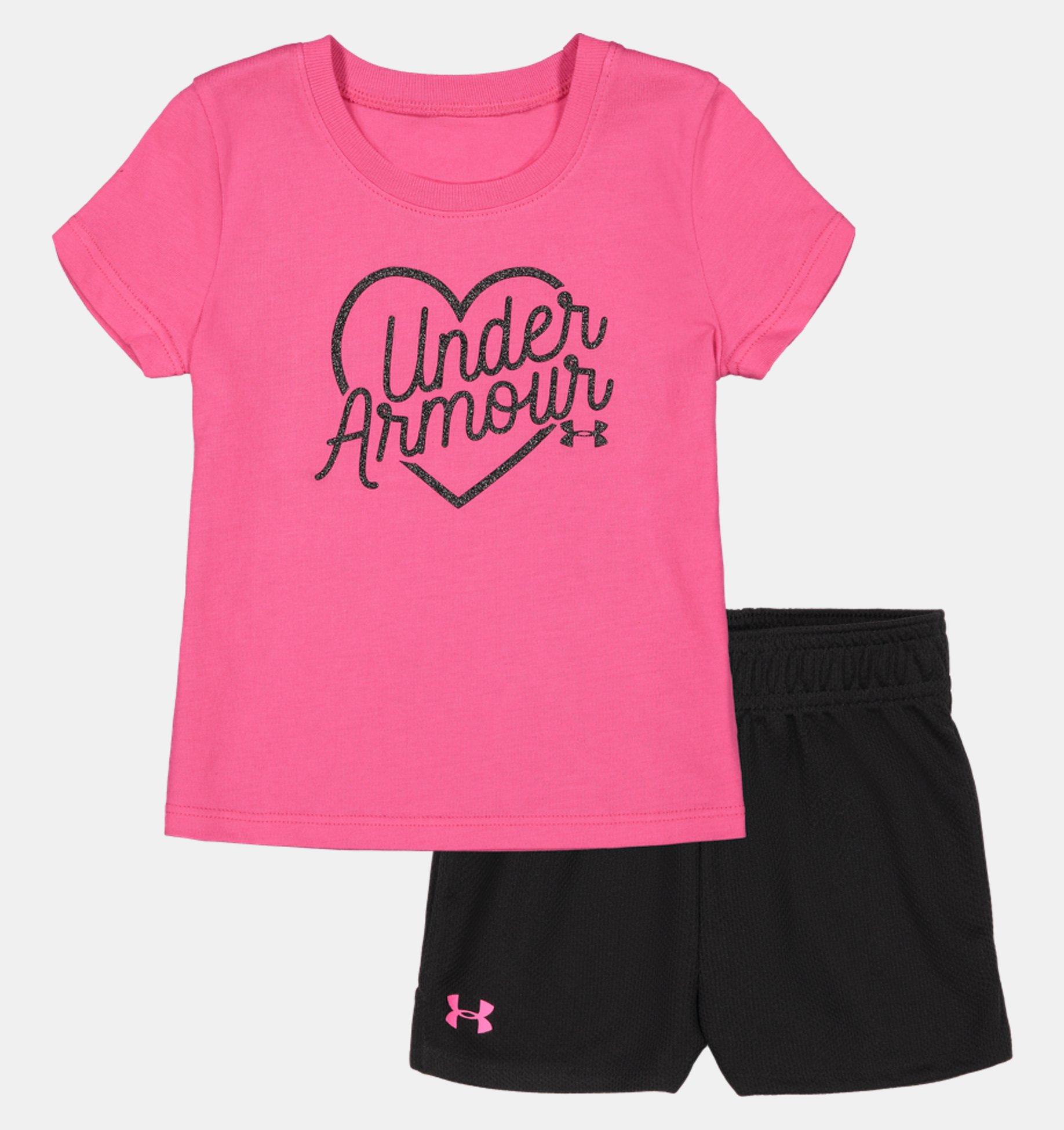Underarmour Girls Infant UA Outline Big Logo Set Short Sleeve