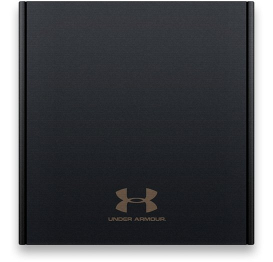 A closed ArmourBox, a premium black box featuring a gold UA logo above the Under Armour word mark.