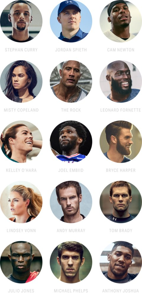 Collection of headshots of a variety of UA sponsored athletes