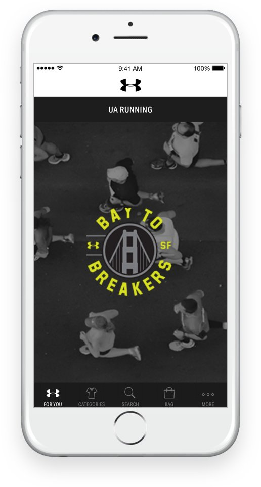 An iPhone with screen showing the UA Running page on The Under Armour App
