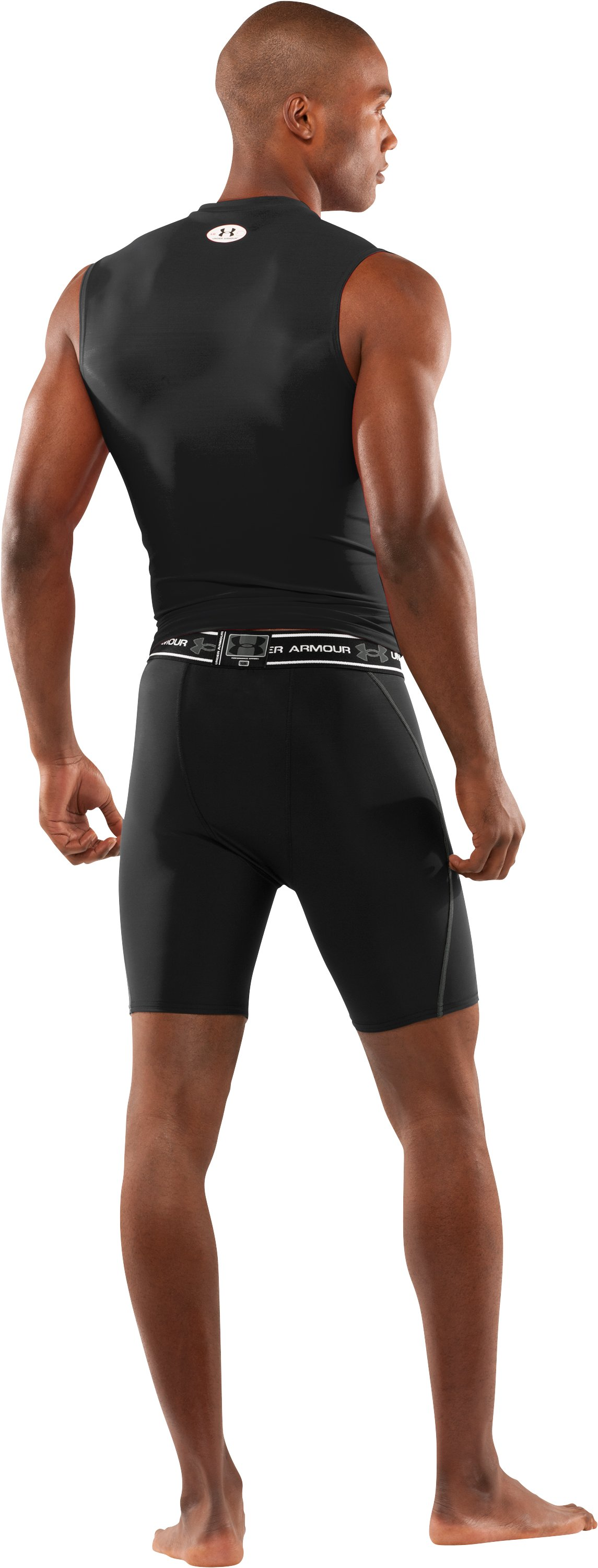 "Men's Ventilated 7"" Compression Shorts, Black , Back"