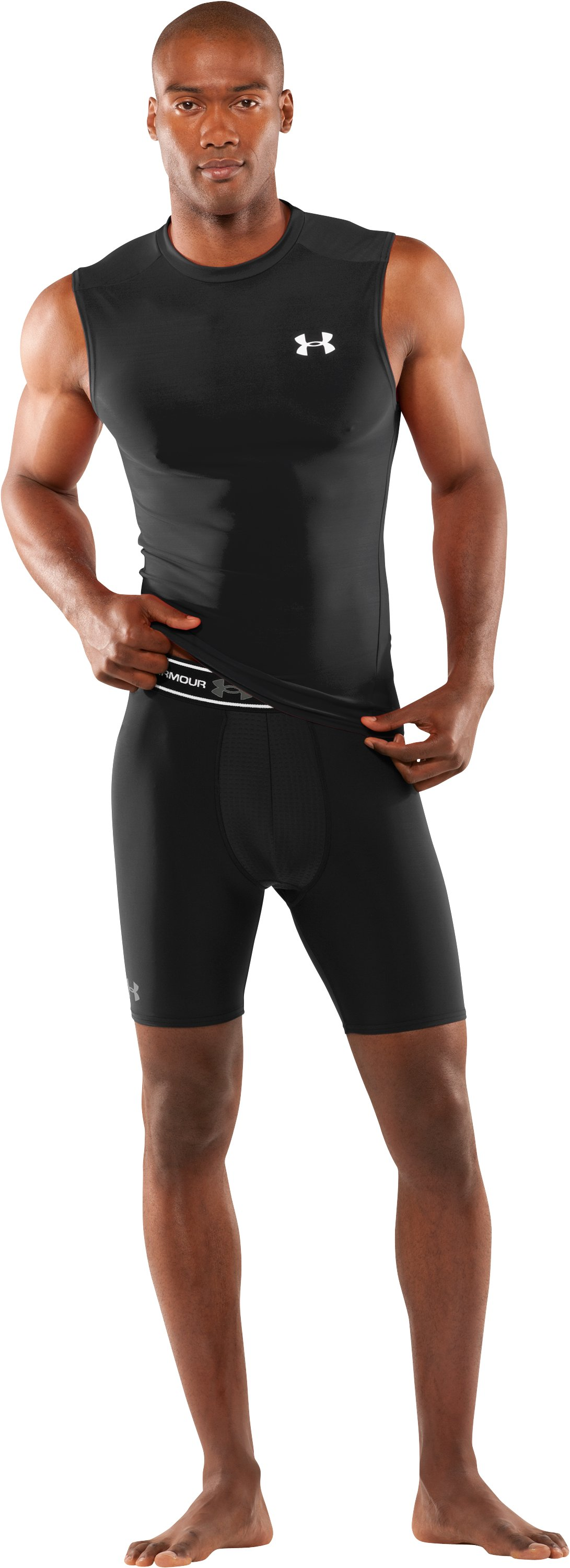 "Men's Ventilated 7"" Compression Shorts, Black , Front"