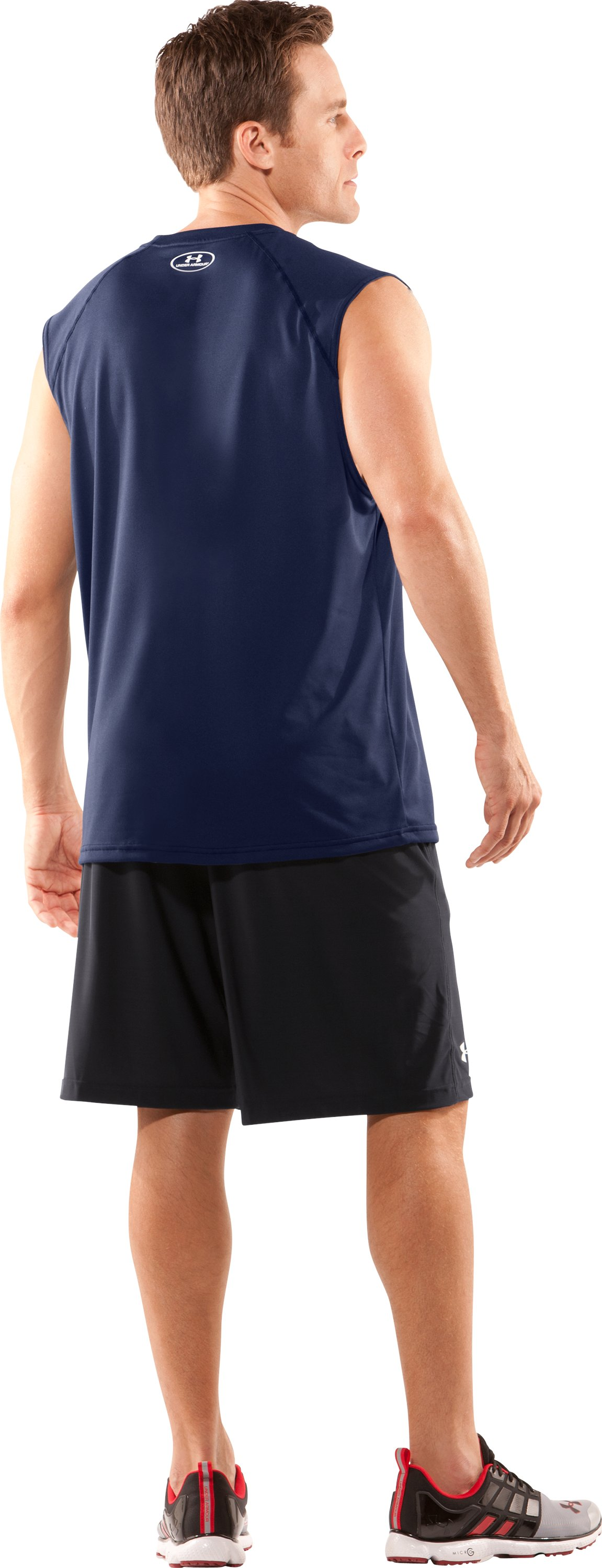 Men's UA Tech™ Sleeveless T-Shirt, Midnight Navy, Back