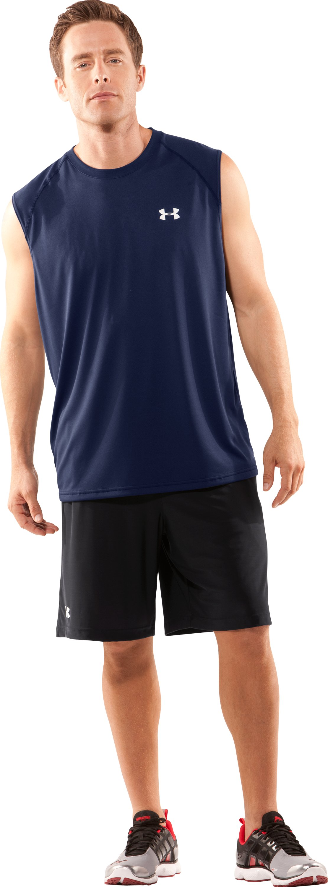 Men's UA Tech™ Sleeveless T-Shirt, Midnight Navy, Front