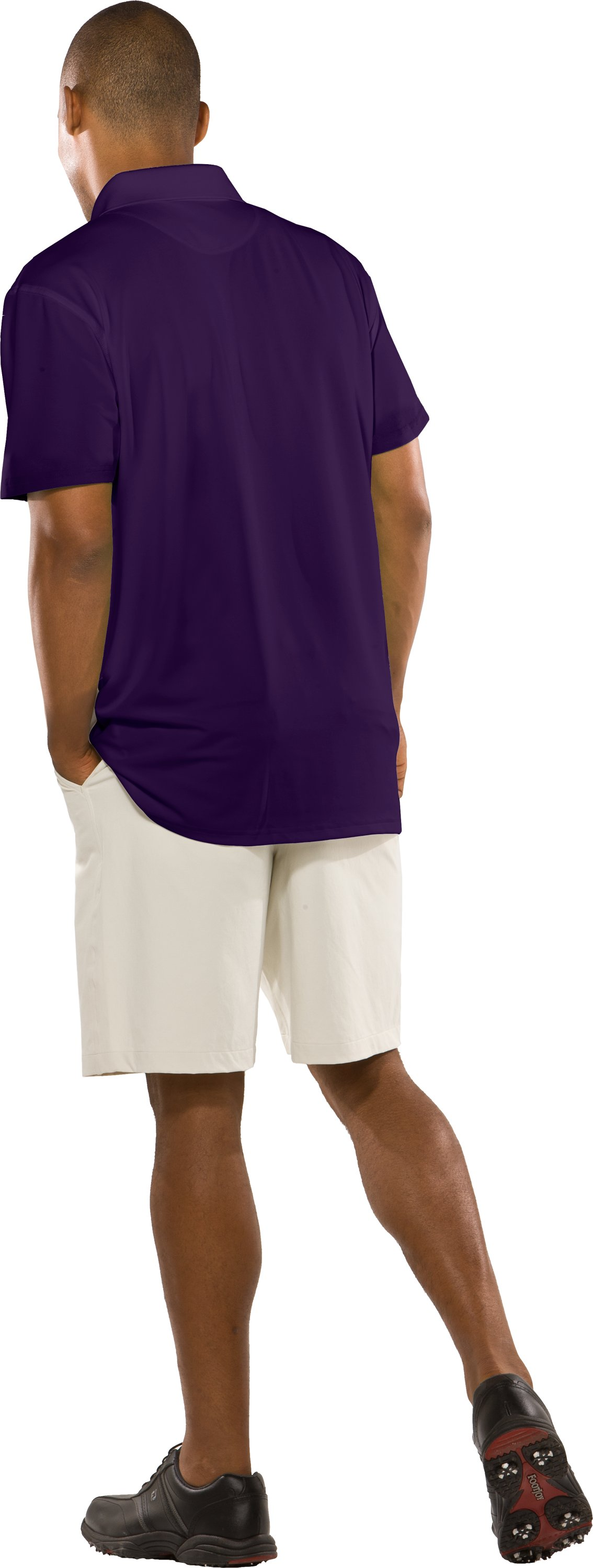 Men's UA Performance Short Sleeve Team Golf Polo, Purple, Back