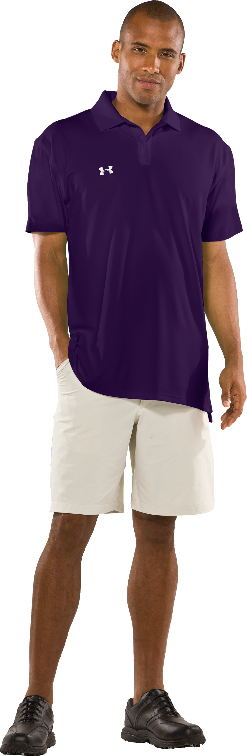 Men's UA Performance Short Sleeve Team Golf Polo, Purple, Front