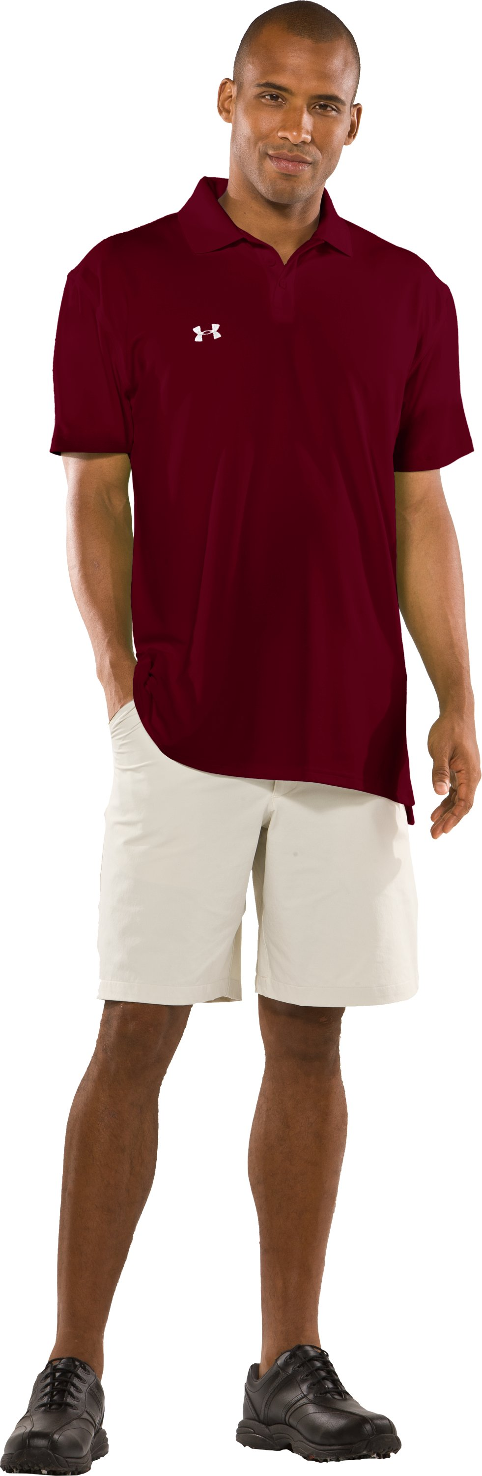 Men's UA Performance Short Sleeve Team Golf Polo, Maroon, Front