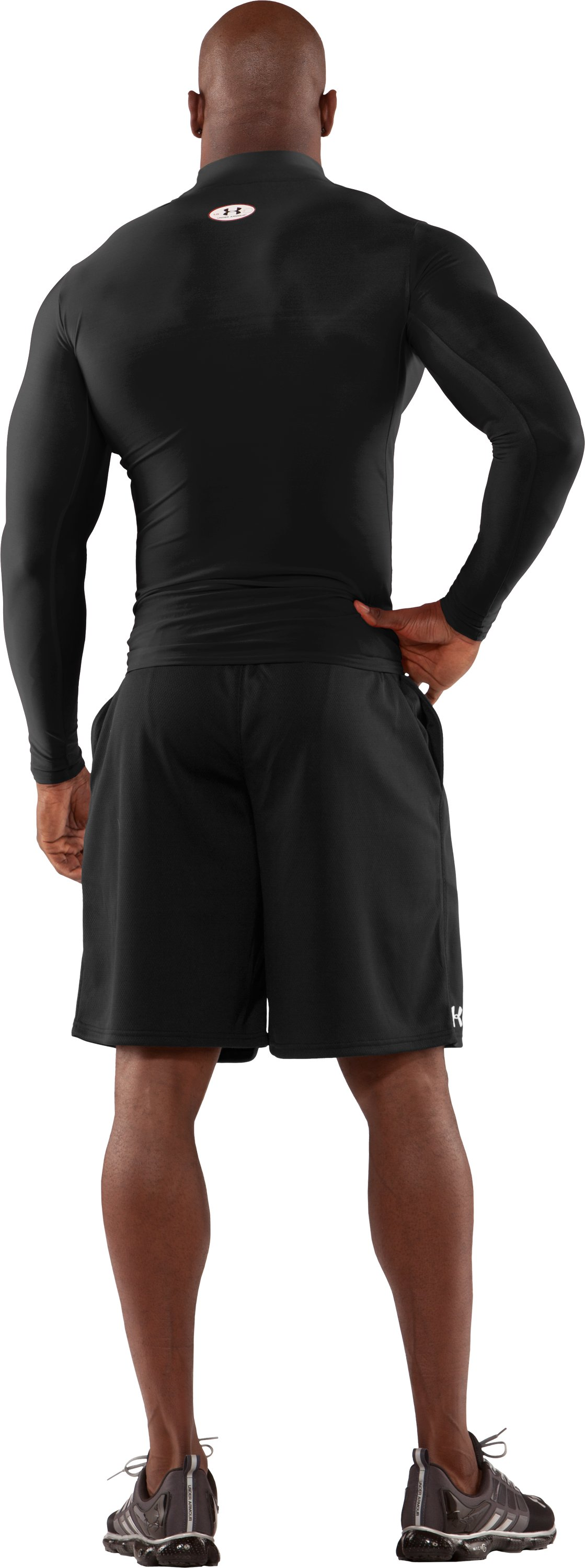 Men's ColdGear® Long Sleeve Compression Mock, Black , Back