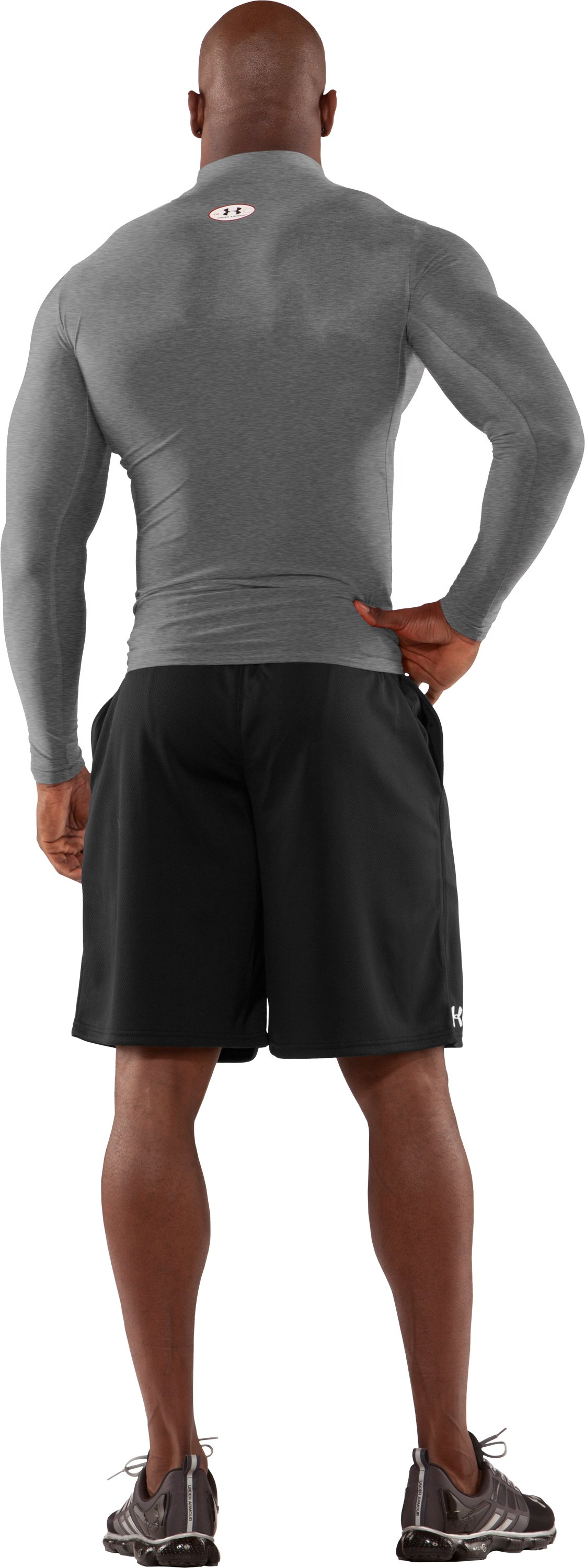 Men's ColdGear® Long Sleeve Compression Mock, Medium Gray Heather, Back