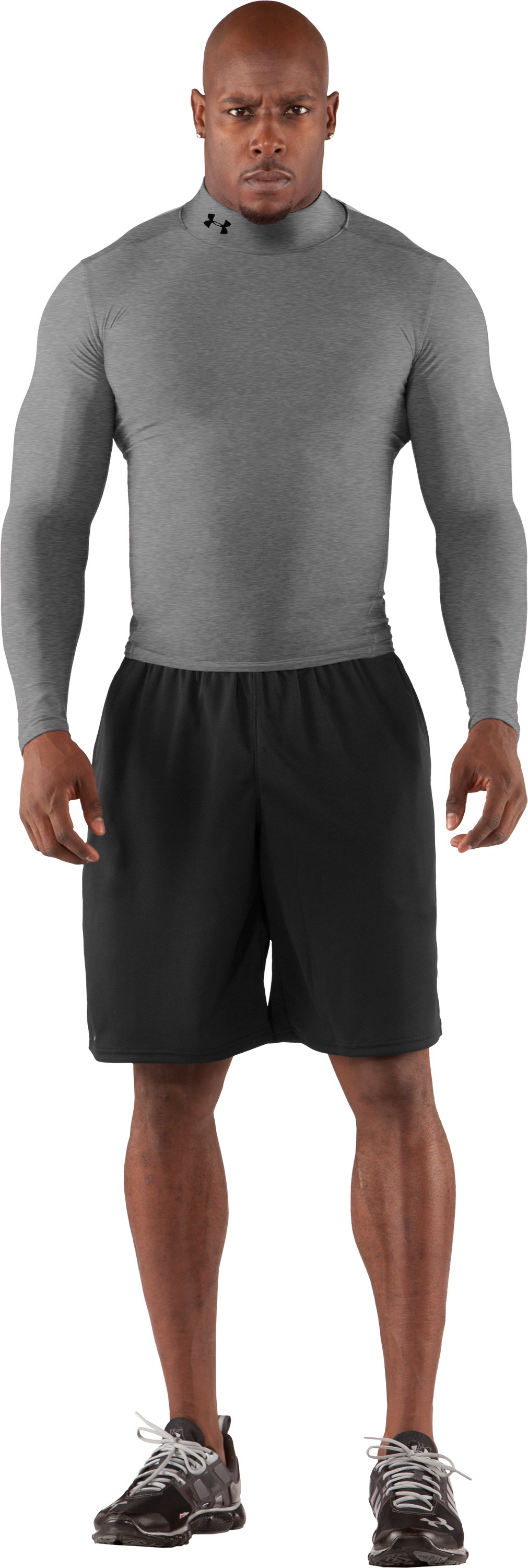 Men's ColdGear® Long Sleeve Compression Mock, Medium Gray Heather, Front