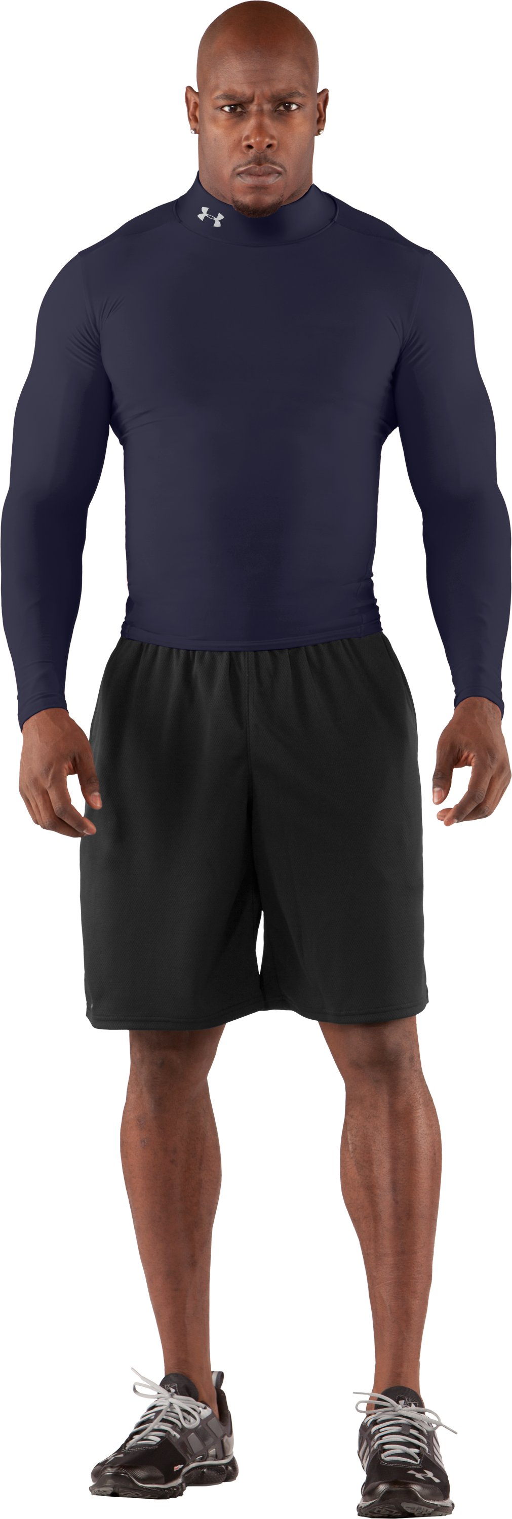 Men's ColdGear® Long Sleeve Compression Mock, Midnight Navy, Front