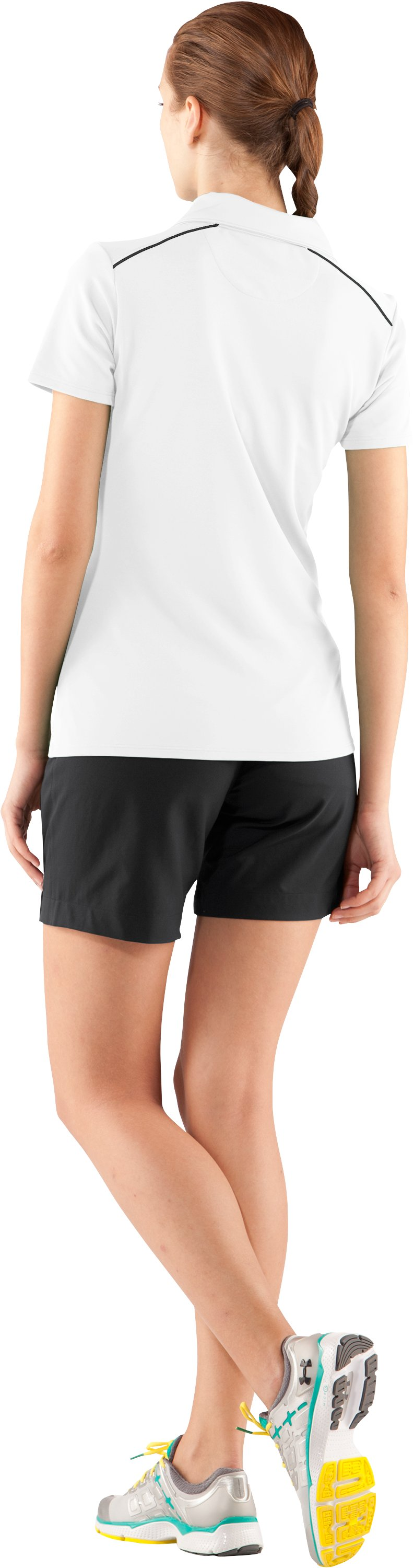 Women's UA Coach's Short Sleeve Golf Polo, White, Back