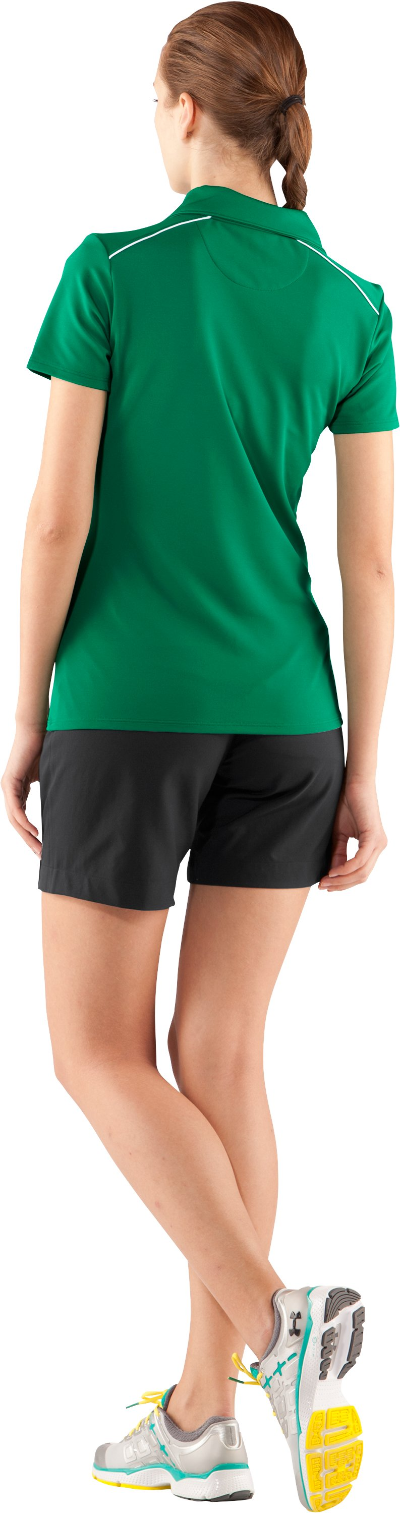 Women's UA Coach's Short Sleeve Golf Polo, Team Kelly Green, Back