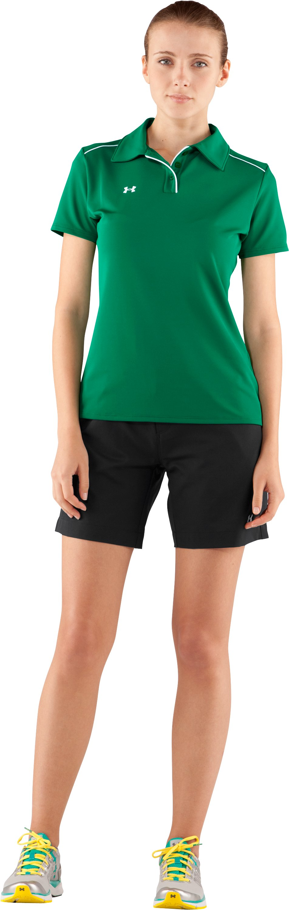Women's UA Coach's Short Sleeve Golf Polo, Team Kelly Green, Front