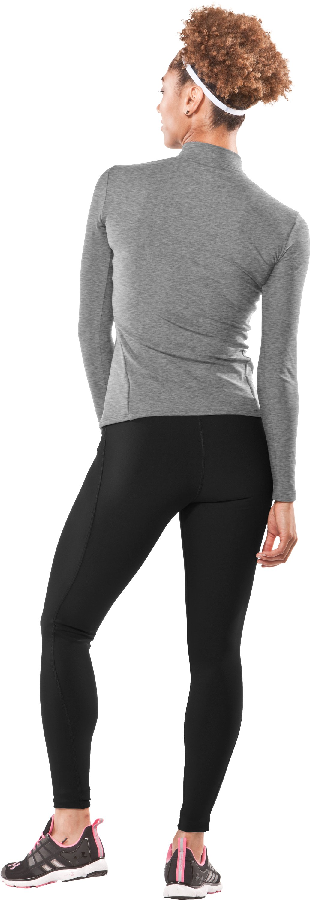 Women's UA ColdGear® Long Sleeve Compression Mock, Medium Gray Heather, Back