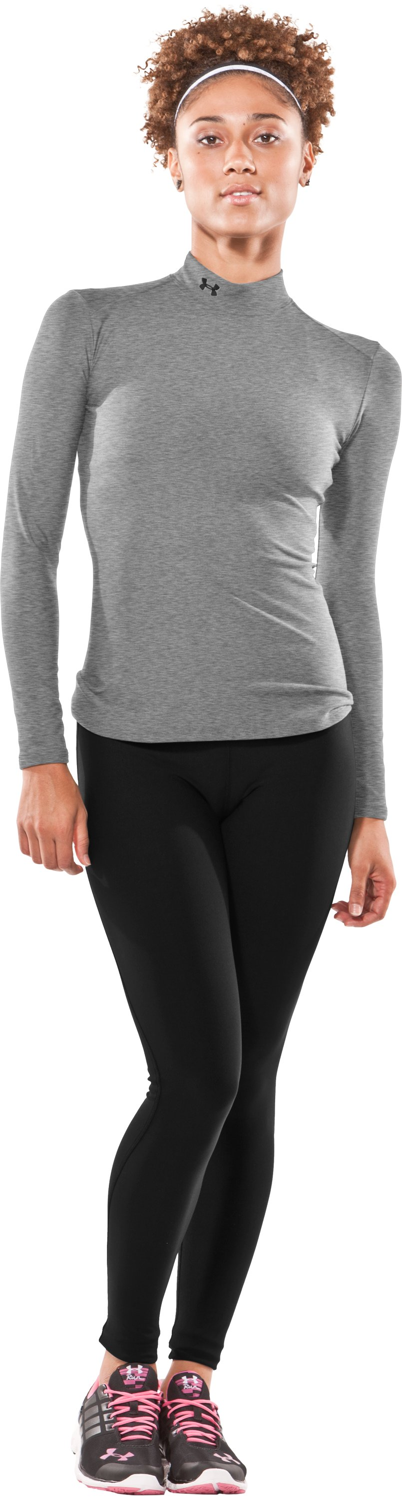 Women's UA ColdGear® Long Sleeve Compression Mock, Medium Gray Heather, Front
