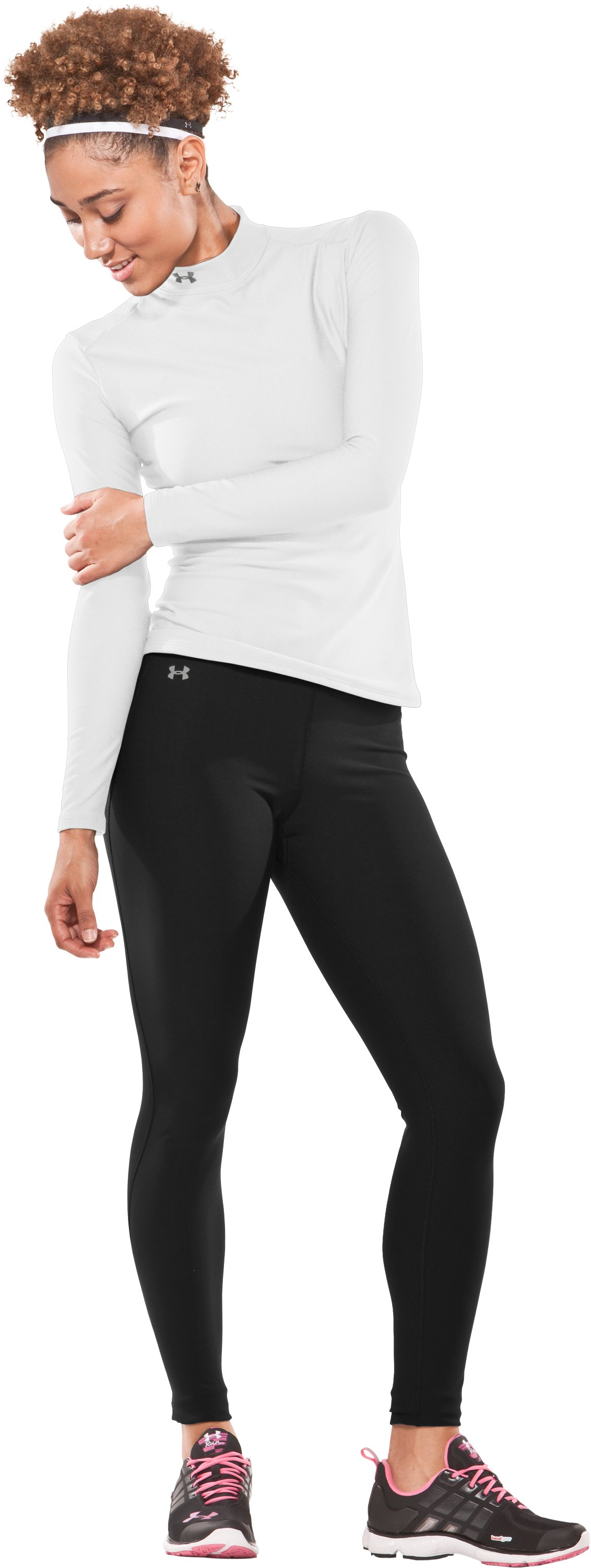 Women's ColdGear® Frosty Compression Tights, Black , Front